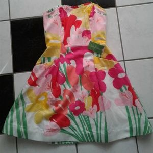 Lilly Pulitzer Strapless Dress Floral Dress Size 2